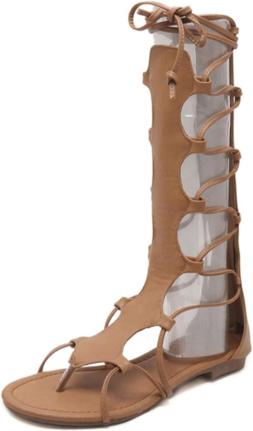 Sandals shoes Women Cross-Strap Flat with Heels Gladiator Open Toe Sandals,Brown,5