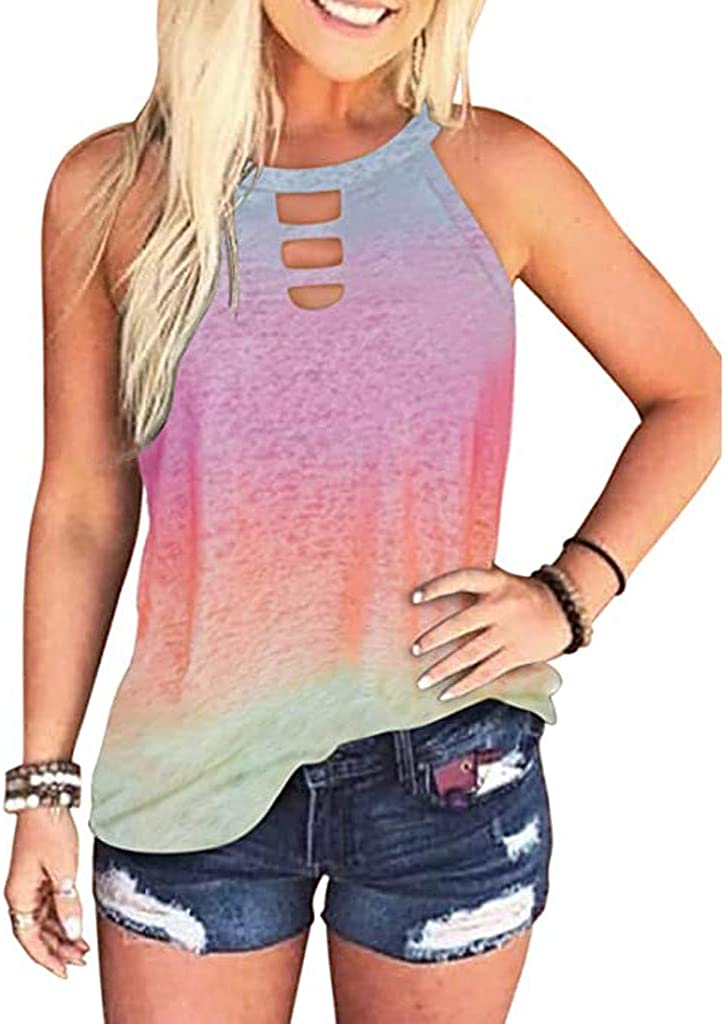 Gerichy Tank Tops for Women Summer, Womens Summer Tops Loose Fit Plus Size Casual Tie Dye Printed Sleeveless Shirts