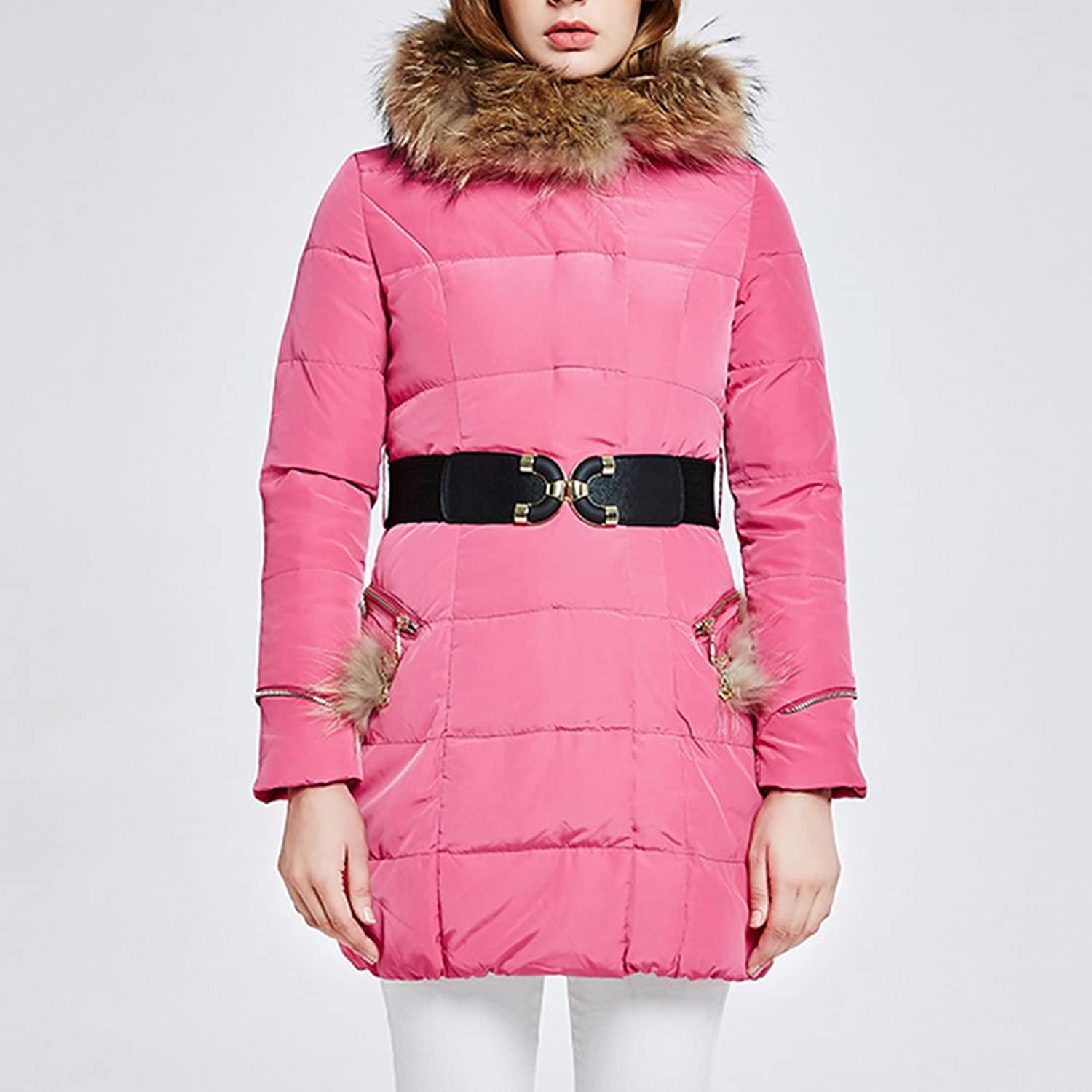 Down jacket QFFL Ms Autumn and winter hooded collar Long warm jacket 6 colors available Size optional jacket