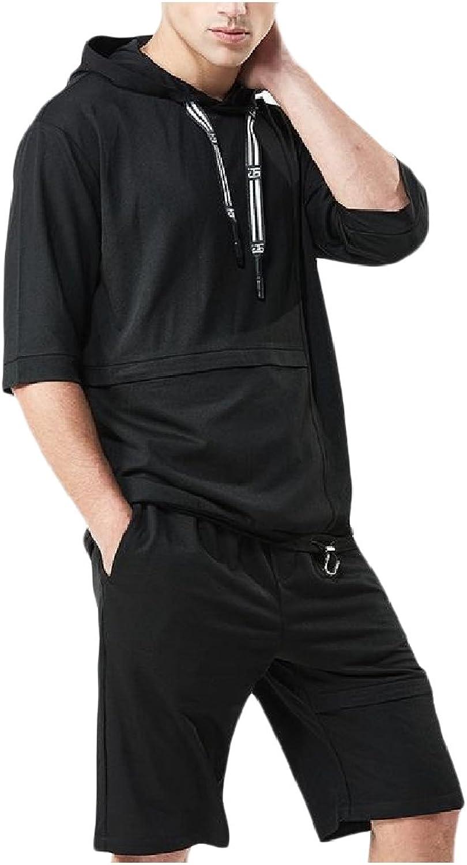 RDHOPE-Men Pure Colour Breathable Short Sleeve Hooded Tracksuit Set