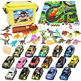 Vanplay Mini Coches de Juguetes con Dinosaurios Juguetes, Tapete de Juego, Tire hacia Atrás Coches para Niños 50 Piezas