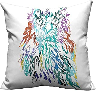 YouXianHome Print Bed Pillowcases with Fluffy Swollen Colorful Feathers Large Eyes Vision Sage Camouflage Character Image Mu Washable and Hypoallergenic(Double-Sided Printing) 35x35 inch