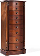 Giantex Large Jewelry Armoire Cabinet with 8 Drawers & 2 Swing Doors 16 Hooks Top Mirror Boxes, Standing Cambered Front Storage Chest Stand, Large Standing Jewelry Armoire, Dark Walnut