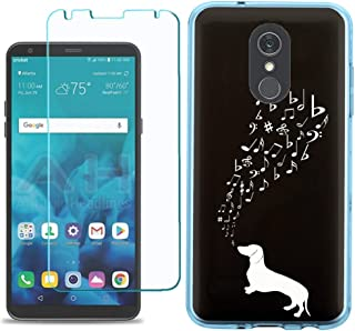 for LG Stylo 5 Case, Slim-Fit TPU Protective Phone Case (Blue Bezel) with Tempered Glass Screen Protector, by One Tough Shield - Dachshund/Puppy Music