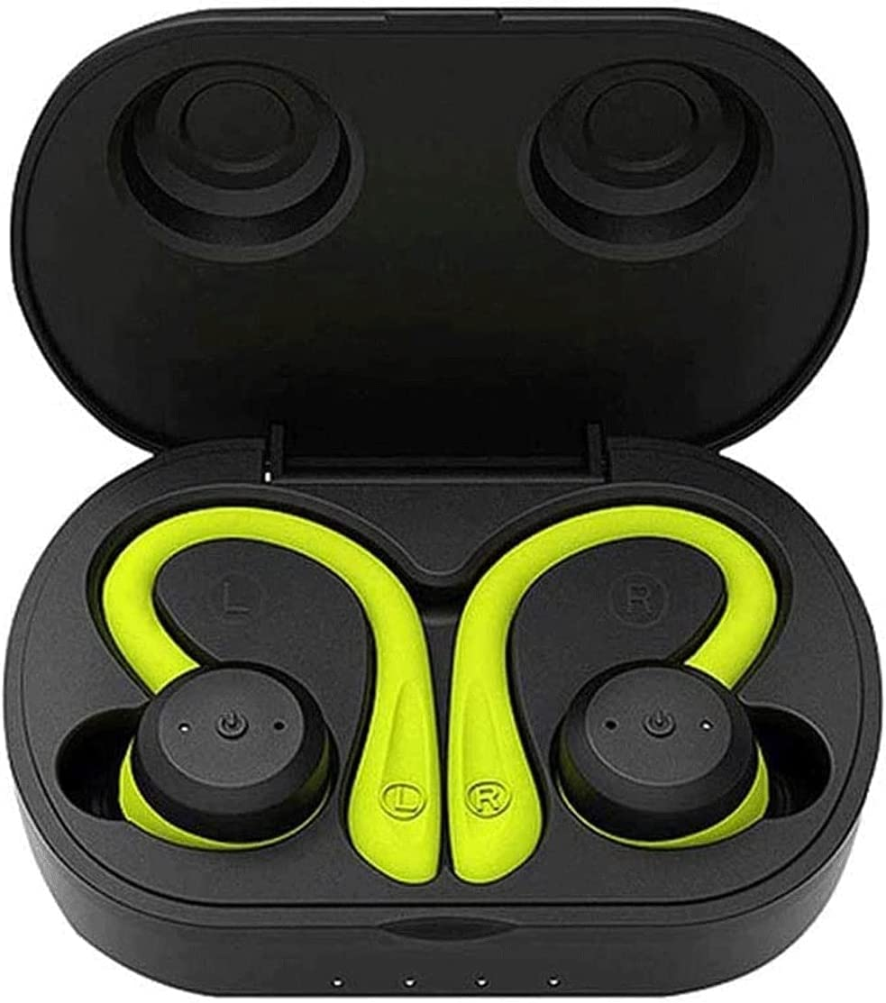 XUBIAODIAN IPX7 Waterproof Bluetooth Headphones Stereo Sound Earphones, Wireless Charging Case & Power Display, Sweat Proof Dual Bluetooth 5.0 Headset with Built-in Mic for Sports (Color : Green)