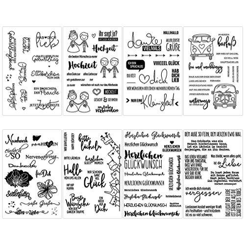 K KUMEED 8 Blätter Silikonstempel Stempel Deutsch, Silikonstempel Set Stempel Geburtstag Stempel Buchstaben, Silikonstempel Blumen Stempel Blume Stempelset für Dich Journal Scrapbooking DIY