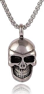 Lparova Vintage Skull Pendant Necklace Men Stainless Steel Gothic Skeleton Necklace for Men Women Punk Jewelry Gift