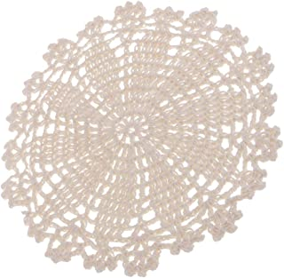 Fityle Handmade Round Crochet Cotton Lace Table Placemats Doilies, Coasters, Table Covering Doilies for Furniture Decor, Flower, White, 7Inch