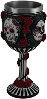Sugar Skull by James Ryman Black White & Red Day of The Dead Rose Goblet