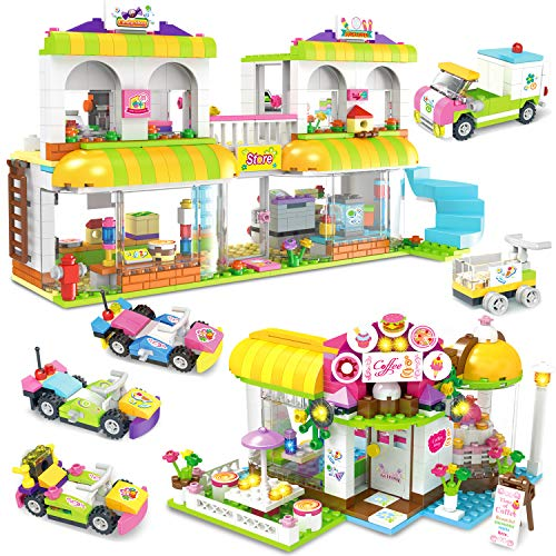 EP EXERCISE N PLAY Coffee Store Supermarket Creative Building Toy Set for Kids, Best Learning and Roleplay Gift for Girls and Boys Festival Birthday with Base Plates Lid Storage Box 1061 Pieces