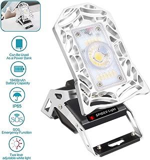 LED Rechargeable Work Light, LED Emergency Light, LED Work Lights, USB Power Bank 10000mAh, 1200 Lumen Rechargeable Task Light for Garage, Workshop, Campsite, Basement, Warehouse, Home, Auto and More