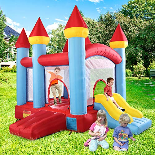 JAXPETY Inflatable Bounce House for Kids, Jump and Slide Bouncer Castle Activity Center for Children 3-10 w/ 680W Blower, Repair Kit