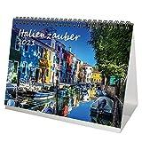Italienzauber DIN A5 Tischkalender für 2021 Italien - Geschenkset Inhalt: 1x Kalender, 1x Weihnachtskarte (insgesamt 2 Teile)