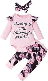 Amissz 3 pièces bébé Filles Body Tops Tenues Ensemble, Coton Doux Infantile Fille à Manches Longues Ensembles de vêtements