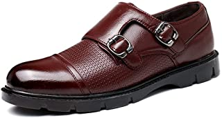 XueQing Pan Classic Oxford for Men Casual Loafers Dual Monk Straps Slip on Microfiber Leather Cap Toe Flat Heel Stitching Burnished Style (Color : Wine red, Size : 6.5 UK)