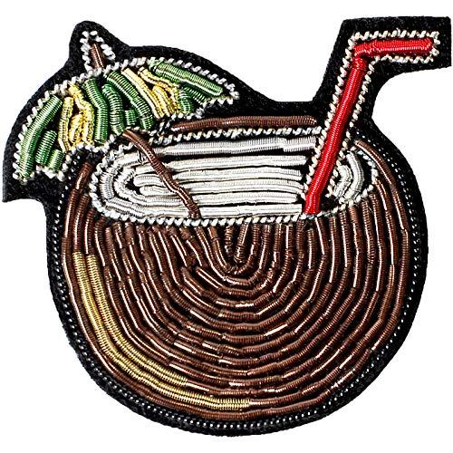 ZHENZHIA Brosche Indische Seide Handstickerei Abzeichen Pflanze Kokos Saft Schmuck