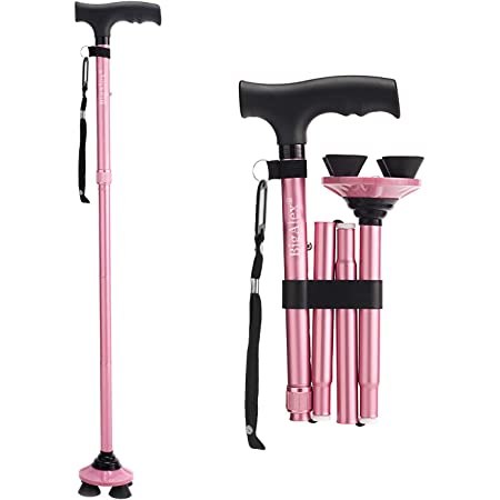 BigAlex Folding Walking Cane Adjustable & Portable Walking Stick,Pivoting Quad Base,Lightweight,Collapsible with Carrying Bag for Men/Woman(Pink)