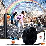 WDERNI Trampoline Sprinkler,Outdoor Waterslides Sprinkler Fun Trampolin Game,Backyard Water Trampolin Toys with 360°Auto Rotate Sprinkler for Kids,Boys,Girls(39.5ft)