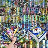 100 Pezzi Pokemon Card,Carte Flash Pokémon Card,GX Pokemon Cards,GX Trading Cards,Pokemon Card Set,Cartoon Game Card,Carte Collezionabili Gx,(60V+40V MAX)