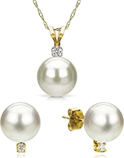 14K White or Yellow Gold 0.09 Cttw Diamond White Freshwater Cultured Pearl Stud Earrings & 18