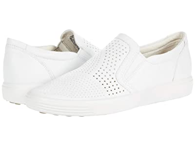 ECCO Soft 7 Perforated Slip-On (White) Women