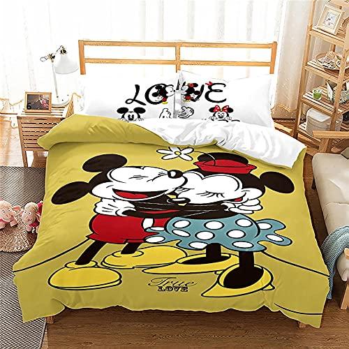 Funda Nordica Mickey Y Minnie 180X200 Cm Microfibra Suave Cómodo Juego De Cama Único Funda Nórdica 180X200 con Funda Almohada para Adultos Y Infantil
