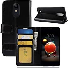Mobile phone case For LG K8 (2018) PU + TPU Crazy Horse Texture Horizontal Flip Leather Case with Wallet & Holder & Card Slots (Black) (Color : Black)