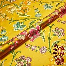 FidgetFidget Vintage Chinese Satin Floral Fabric Tulip Damask Brocade DIY Bag Clothes Crafts Yellow