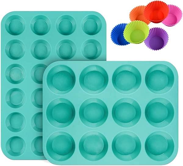 硅胶松饼盘纸杯蛋糕套装迷你 24 杯和常规 12 杯松饼锡不粘不含 BPA 食品级硅胶模具带 12 个硅胶烘焙杯