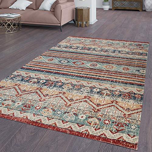 TT Home In-& Outdoor Teppich Küchenteppich Terrasse Vintage Ethno Design Rot Blau Beige, Größe:120x160 cm