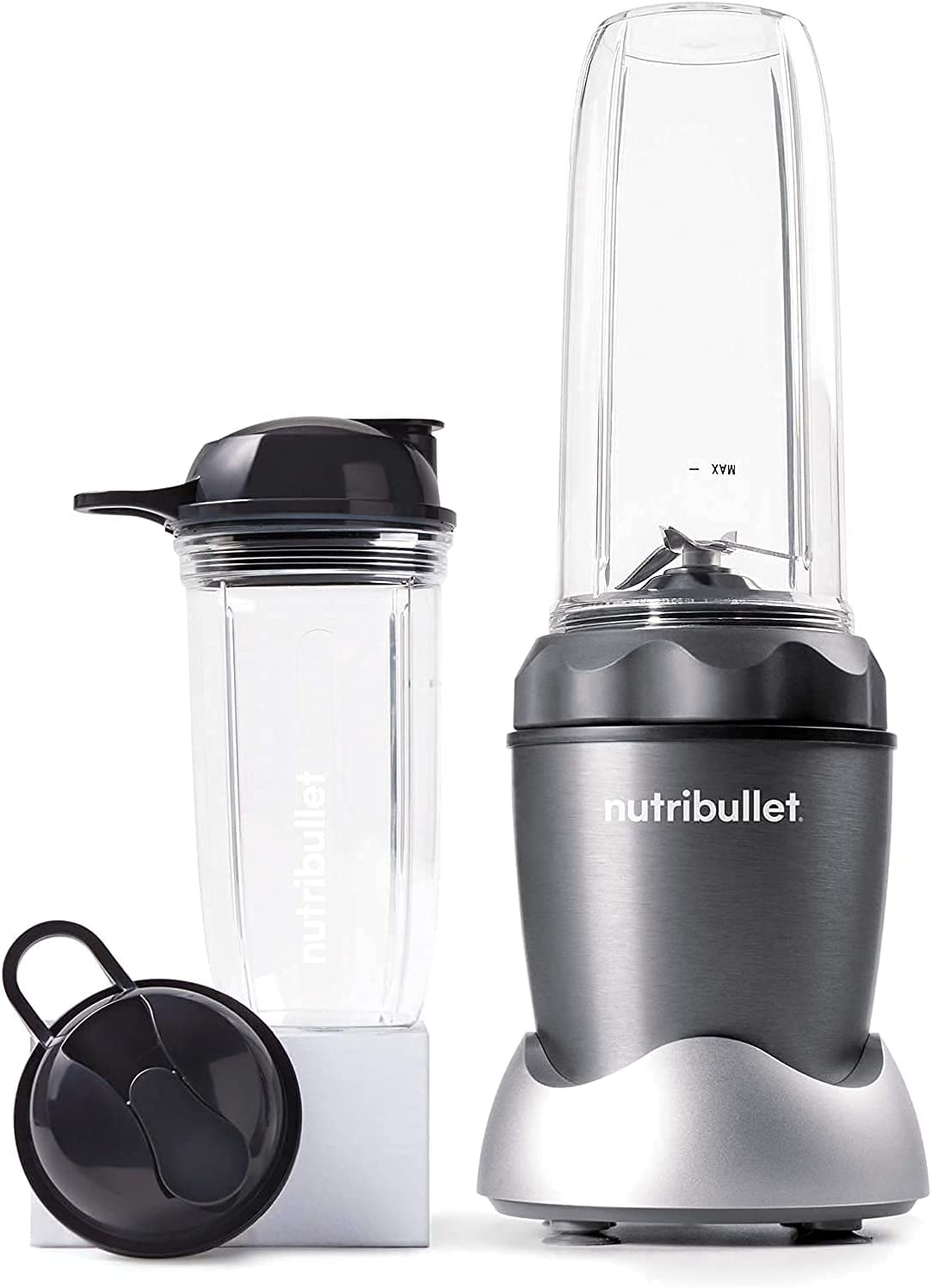 NutriBullet Pro 1000 Single Serve Blender Very Powerful 1000 Watts 7-Piece Set, Gray (Renewed)