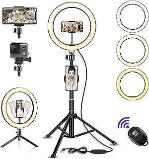 """Diealles Shine 10.2"""" Aro de Luz LED con Tripode, 3 Modos Ring Light Tripode con Control Remoto Bluetooth para Móvil Selfie..."""
