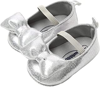 lakiolins Baby Girls Shiny Sequins Dress Shoes Glitter Bowknot Ballet Flats Mary Jane