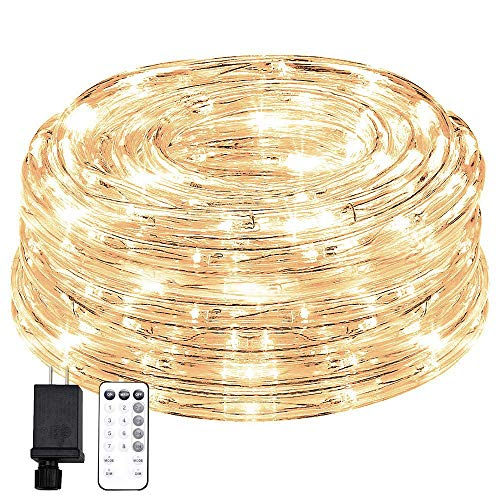 KVK 66ft 200 LED Rope Lights, 8 Mode Strip Light with Remote Flexible Waterproof Indoor Outdoor Tube Light Rope for Gazebo, Wedding, Patio, Home Decor, Garden, Lighting (Warm White)