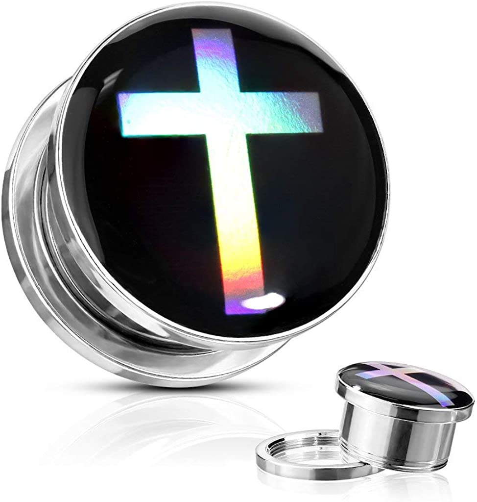 Covet Jewelry Cross Hologram Surgical Steel Screw Fit Flesh Tunnel Plugs