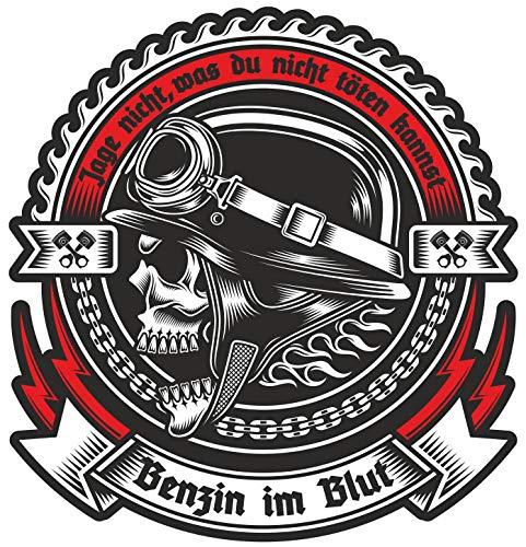 Wetterfester Aufkleber Benzin im Blut 10 oder 40cm Biker Stahlhelm Totenkopf