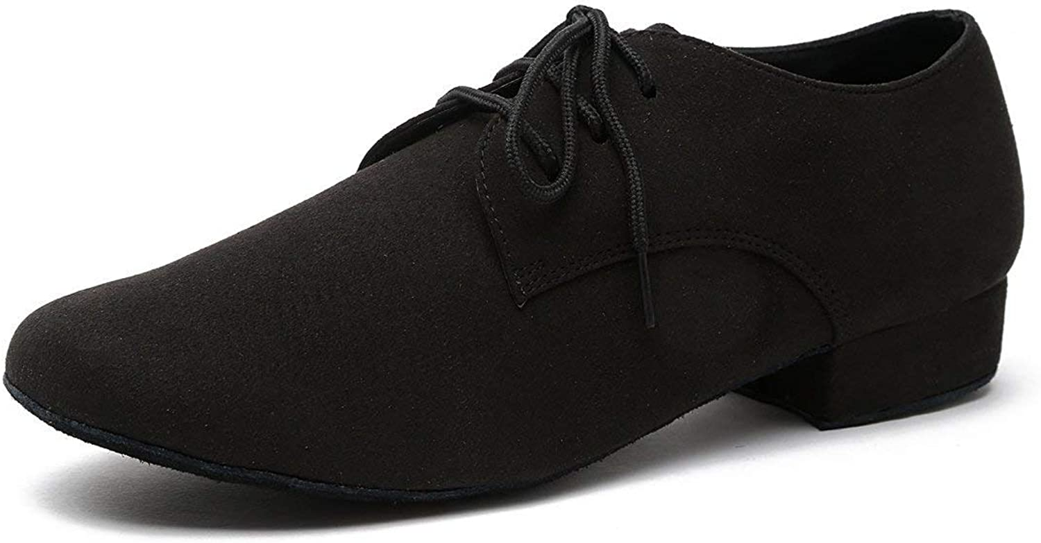 ZHRUI Men's Fashion Standard Lace-up Suede Latin Medorn Ballroom Dance shoes (color   Black-2.5cm Heel, Size   4.5 UK)