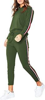 Women's 2 Pieces Casual Autumn Spring Sports Sweatsuits Joggers Side Striped Cotton Tracksuit Jumper Sets