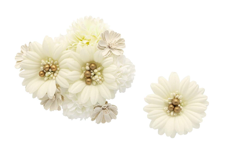 (ソウビエン) 髪飾り 2点セット 白 金色 ピンポンマム ガーベラ 花 コサージュ 成人式 卒業式 日本製