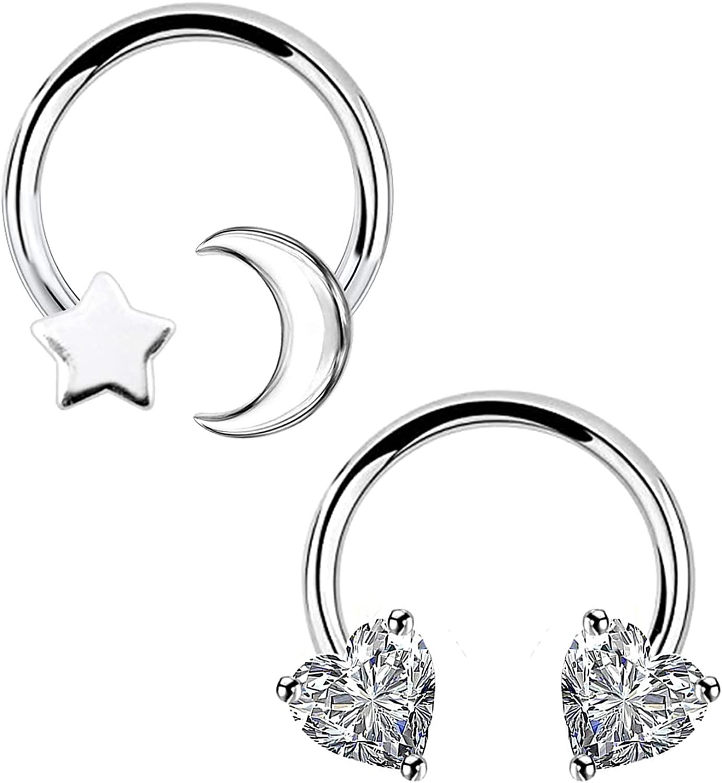 CHARMONLINE Septum Ring Horseshoe Hoop Earring Cartilage Earring Hoop 16G 316L Surgical Steel Cartilage Earring Hoop Nose Ring Flower Captive Bead Rings Tragus Daith Rook Helix Piercing Body Jewelry