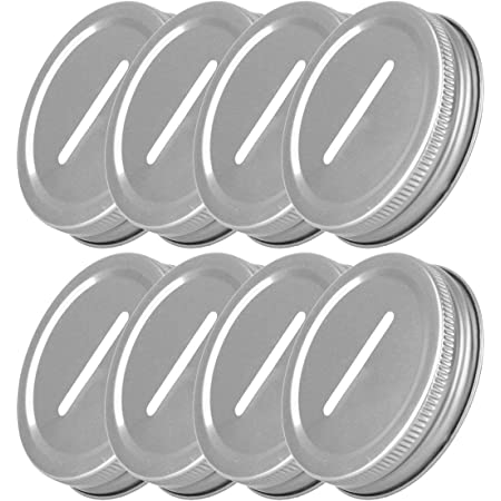 FEESHOW 8pcs Polished Rust Resistant Stainless Steel Coin Slot Bank Lid Inserts for Mason Jar Canning Jar Silver One Size