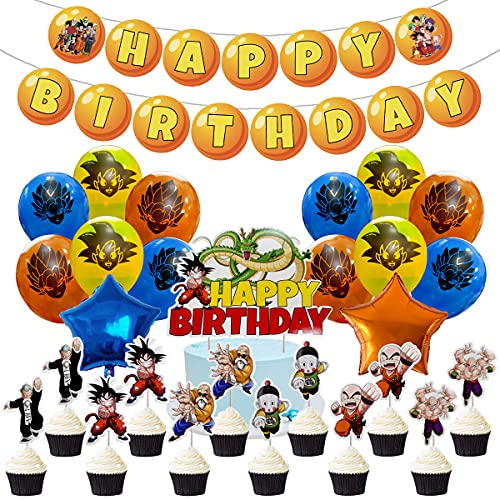 Dragon Ball Z Birthday Party Supplies, Party Set Include Happy Birthday Banner - Cake & Cupcake Toppers - 2Pcs aluminum balloons - 18 Latex Balloons for Children Dragon Ball Z Theme Birthday Decoration.