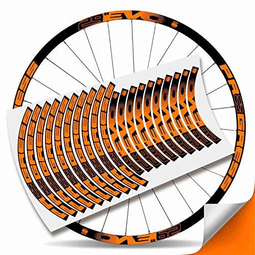 Kit Pegatinas Bicicleta Stickers LLANTA Rim Progress EVO 29' MTB BTT B (Naranja Fluor)
