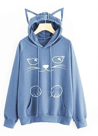 Cat Ear Hoodies Blouse Sweatshirt Hooded Pullover Tops for Women JJAI Girls Hoodie