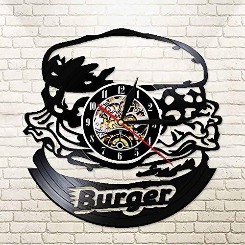 WERWN Burger Kitchen Disco de Vinilo Reloj de Pared Burger Diseño Moderno Reloj Decoración Regalo