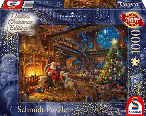 Schmidt Spiele Puzzle 59494 Thomas Kinkade, Der Weihnachtsmann und Seine Wichtel, Limited Edition, 1000 Teile Puzzle, bunt