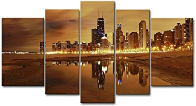 5 Panel Wall Art Painting Chicago Skyline Prints On Canvas The Picture City Pictures Oil for Home Modern Decoration Print Decor