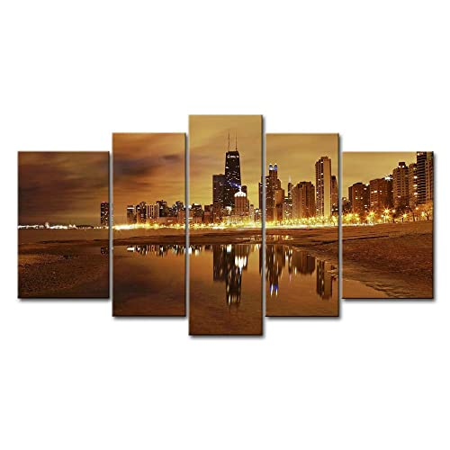 5 Panel Wall Art Painting Chicago Skyline Prints On Canvas The Picture City Pictures Oil For
