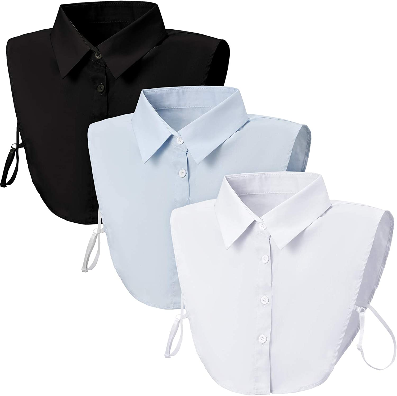 3 Pieces Fake Collars Detachable Blouse Dickey Collars Half Shirts False Collar for Women Girls