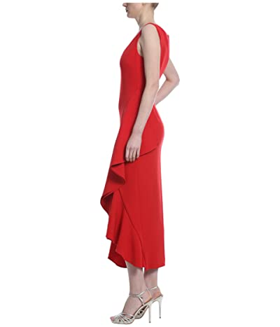 Badgley Mischka Side Ruffle Cocktail Dress (Sriracha) Women